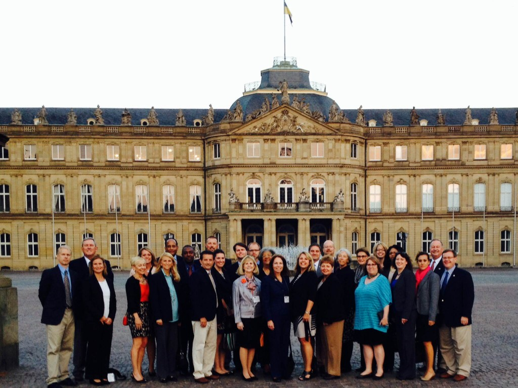 In front of the state parliament building in Stuttgart.